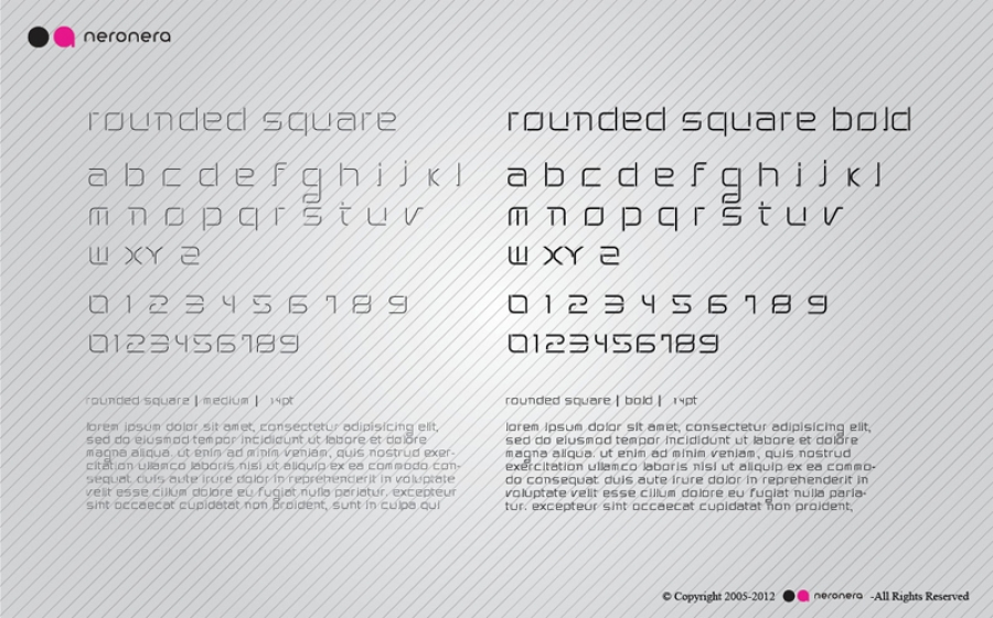 rounded square Font Design